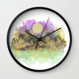 Pale Yellow Moon Landscape Wall Clock