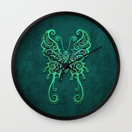 Intricate Teal Blue Vintage Tribal Butterfly Wall Clock
