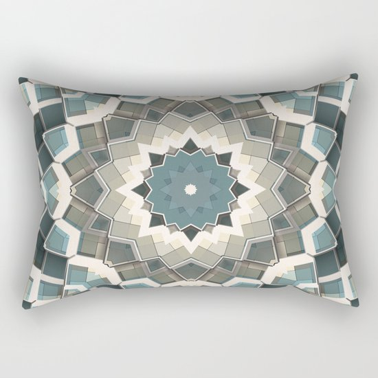 Blue And Beige Boxes Abstract Rectangular Pillow
