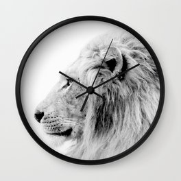 Lion Print, Animal Prints, Black & White Photography Wall Clock