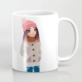 teenager wearing warm winter clothes Coffee Mug