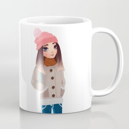 teenager wearing warm winter clothes Coffee Mug