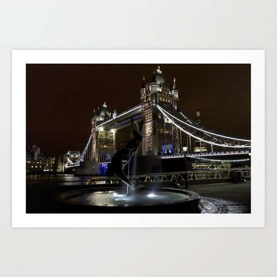 Girl and Dolphin Statue and Tower Bridge Art Print