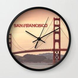 Golden Gate Bridge San Francisco With City Name Wall Clock