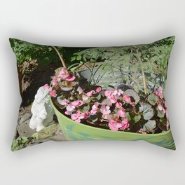 Sun kissed Garden Angel and Begonias Rectangular Pillow