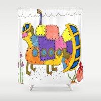"submarine Shower Curtains featuring ""Submarine I"" by Holly Lynn Clark"