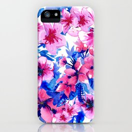 Floral Print Tropical Magenta iPhone Case