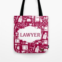 lawyer Tote Bags featuring Red Lawyer by Be Raza