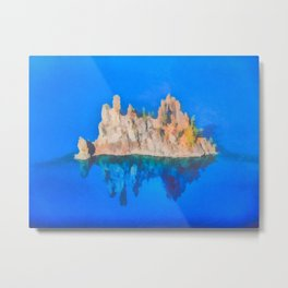 Phantom Ship Island Crater Lake Art by Priya Ghose Metal Print