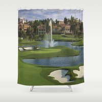 golf Shower Curtains featuring GOLF COURSE by aztosaha