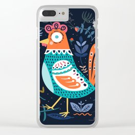 Blue flowers Chicken Roster Clear iPhone Case