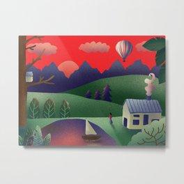 Digital Landscape Illustration Metal Print