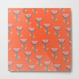 Cute Floral Pattern in Orange Metal Print
