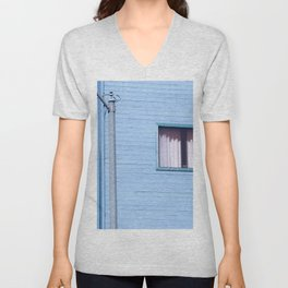vintage blue wood building with window and electric pole Unisex V-Neck