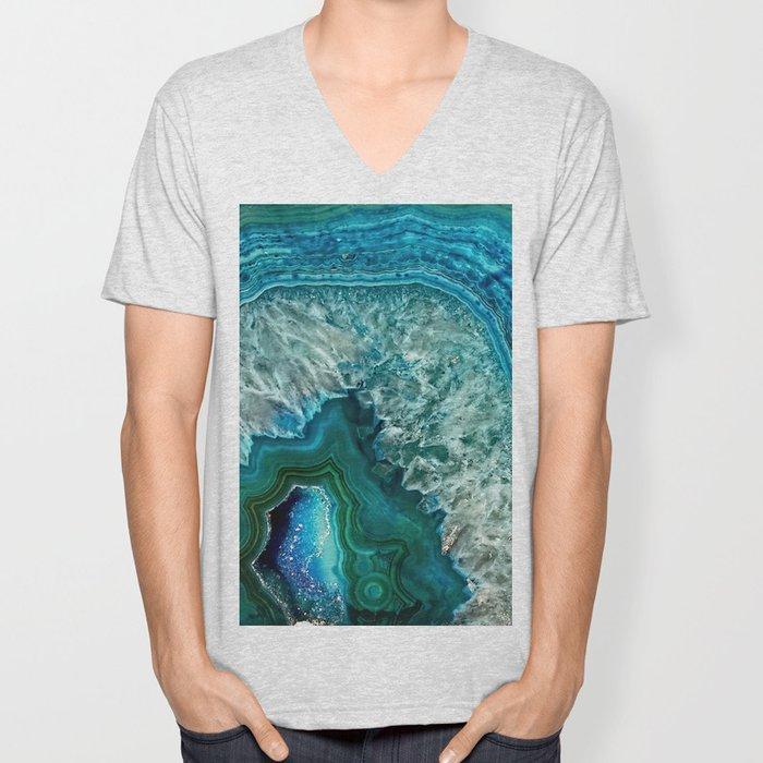 Aqua turquoise agate mineral gem stone Unisex V-Neck