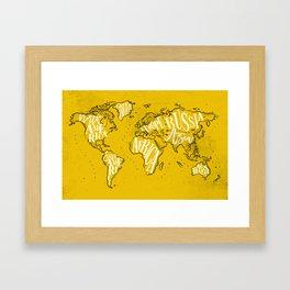 Worldmap vintage yellow Framed Art Print