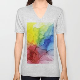 Flowing Rainbow Ink Ethereal Abstract Painting Unisex V-Neck