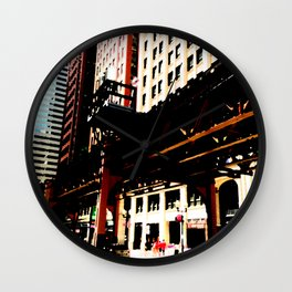 Chicago transit 'L' art print - industrial  urban photo - downtown Chicago, Illinois  Wall Clock