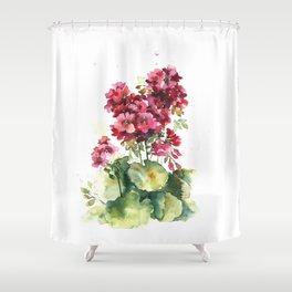 Watercolor geranium flowers Shower Curtain