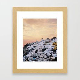 Sunset over Oia Framed Art Print