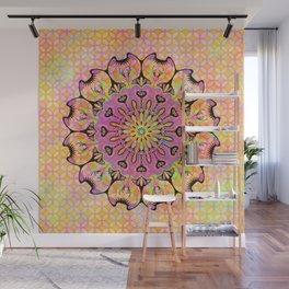 Pastel Rainbow Flower Mandala, Ultra Violet Geometric Boho Kaleidoscope Popart Wall Mural