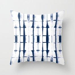 Shibori Stripes 4 Indigo Blue Throw Pillow
