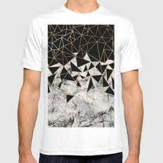 Marble polygon pattern MEDIUM White Mens Fitted Tee