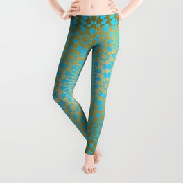 Moroccan Nights - Gold Teal Mandala Pattern 1 - Mix & Match with Simplicity of Life Leggings