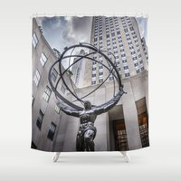 atlas Shower Curtains featuring Art Deco Atlas by MikeMartelli