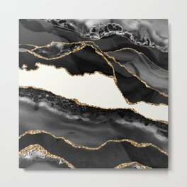 In the Mood Black and Gold Agate Metal Print