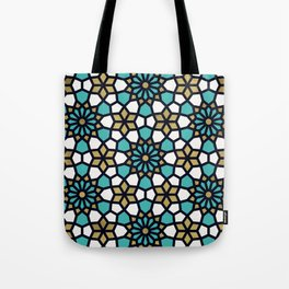 Persian Mosaic – Turquoise & Gold Palette Tote Bag