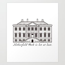 Sketch of Netherfield Park from Pride and Prejudice Art Print