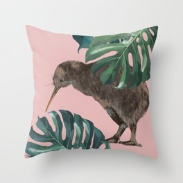 Kiwi Bird with Monstera in Pink Throw Pillow