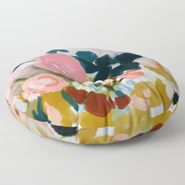 floral bloom abstract painting Floor Pillow