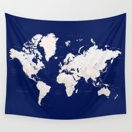"""Navy blue and light brown detailed world map """"Gavin"""" Wall Tapestry"""