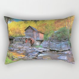 Photos USA water mill Glade Creek Grist Mill, Babcock State Park, West Virginia Autumn Nature Stones Watermill stone Rectangular Pillow