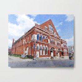 Ryman Auditorium Watercolor Metal Print