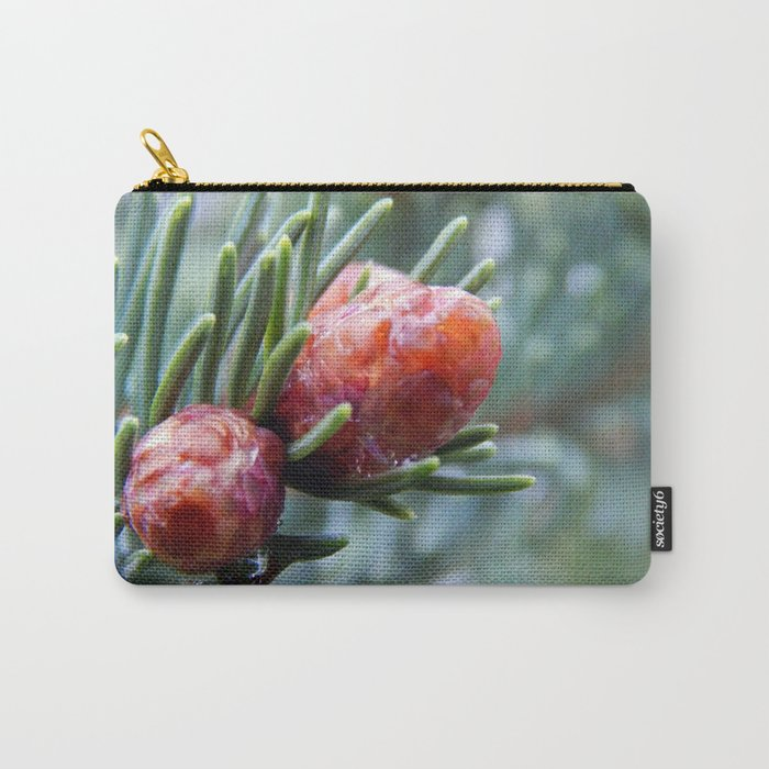 Tiny Red Pine Cones Carry-All Pouch
