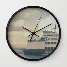 Ferry Boat at Sunset Wall Clock