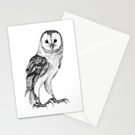 Barn Owl - Drawing In Black Pen Stationery Cards