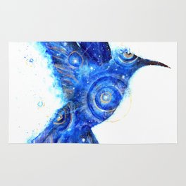 Surreal Hummingbird | Space Hummingbird | Double Exposure Animals Rug