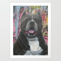pitbull Art Prints featuring pitbull by stef-w