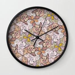 Pig Duck Sheep Escher Trio Wall Clock