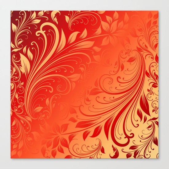Orange red swirls leaves  Canvas Print