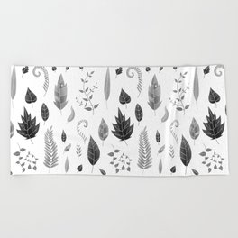 Leaves Black and White Beach Towel