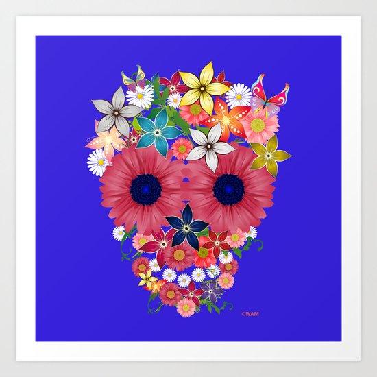 Skull Flowers blue Art Print