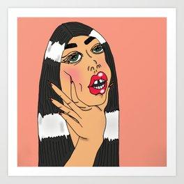 Choking Babe (Peach) Art Print