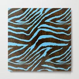 Zebra Animal Print Blue and Brown Metal Print