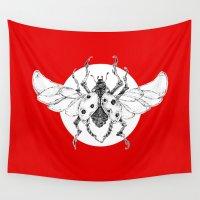 clockwork Wall Tapestries featuring clockwork ladybug by vasodelirium
