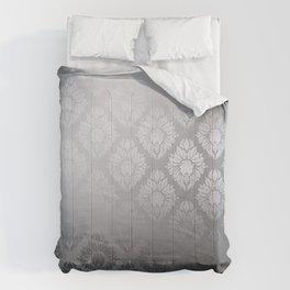 """Neutral gray Damask Pattern"" Comforters"
